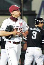 6回、ソフトバンク・松田(3)に勝ち越しの適時三塁打を浴びた東北楽天2番手の福山(小林一成撮影)