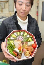 諏訪の新名物を目指して販売中の「すわ姫弁当」=諏訪市の諏訪観光協会