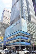 2008年9月に経営破綻した米証券大手リーマン・ブラザーズの旧本社ビル=10日、ニューヨーク(共同)