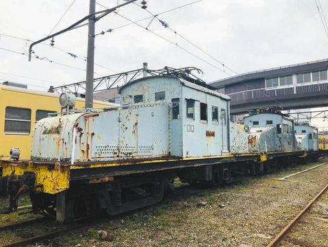 解体が決まったED31形の3両=彦根市の近江鉄道彦根駅で(近江鉄道提供)