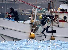 テングサ採取などのため、海に潜るダイバー。海女漁が途絶え、伊豆漁協稲取支所が新たな手法として導入した=9月26日、東伊豆町