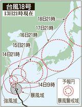 台風18号の5日先予想進路(13日21時現在)