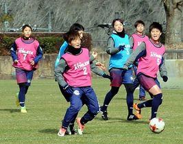 今季初練習で汗を流す岡山湯郷ベルの選手=美作ラグビーサッカー場