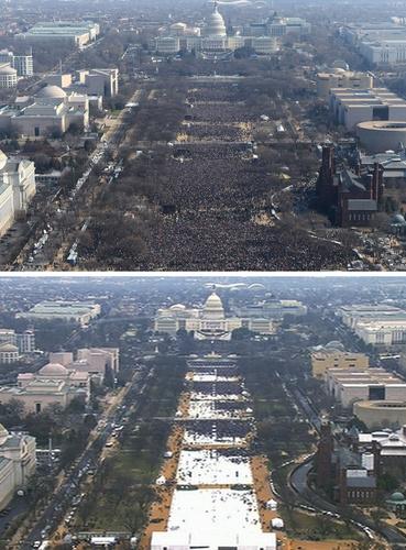 2009年米ワシントンで行われたオバマ前大統領の就任式(上)と、20日のトランプ大統領就任式の際の緑地帯を比べた写真(AP=共同)