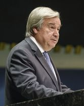 国連総会の会合で演説するグテレス事務総長=16日、国連本部(国連提供・共同)