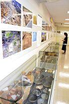 石城国の歴史や概要を紹介する写真パネルと出土品