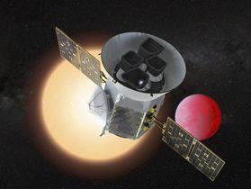 太陽系外で地球に似た惑星を探す宇宙望遠鏡「TESS」の想像図(NASA提供・共同)