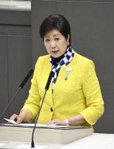 東京都議会の定例会の本会議で所信表明する小池百合子知事=12日午後、東京都庁