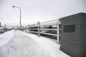 高力ボルト不足のため補修工事着工がずれ込んでいる青柳橋=19日午前9時40分ごろ、青森市港町
