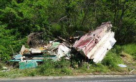 岐阜県恵那市の山中で発見された解体された漁船(岐阜県警提供)