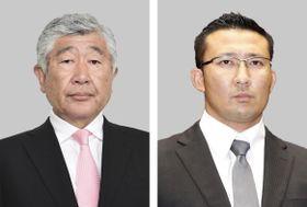 日本大アメリカンフットボール部の内田正人前監督(左)、井上奨前コーチ(右)
