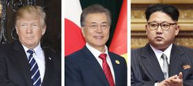 トランプ米大統領、韓国の文在寅大統領(聯合=共同)、北朝鮮の金正恩朝鮮労働党委員長