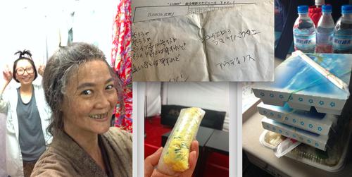 (左から)ロケ終了後のキチジロー母、撮影中のメモ、台湾式弁当やちまきなど現場のケータリング