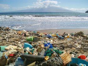 米ハワイの海岸に打ち上げられた、さまざまなプラスチックごみ(米海洋大気局提供)