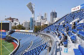 右翼席の外側に設けられたウイング席=横浜市中区で