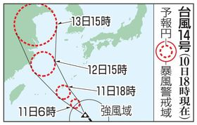 台風14号の予想進路(10日18時現在)