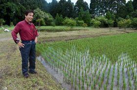 田植えを終えた水田をながめる西丸政博さん。後ろに見えるのが、雨水を貯める池=曽於市財部町南俣