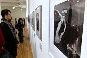 幻想的なコラージュ作品を中心に115点が並ぶ「岡上淑子コラージュ展」(20日午前、高知市の県立美術館)