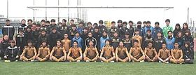 全日本大学サッカー選手権に初出場する松本大の選手ら