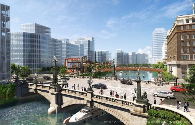 江戸橋から、室町1丁目の親水空間を望む(完成イメージ図)