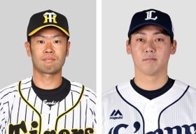 阪神の榎田大樹投手、西武の岡本洋介投手