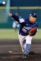 5回を投げ、無失点で勝利に貢献した徳島の先発森=JAバンク徳島スタジアム