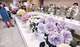 気品あふれるバラに見入る来場者=金沢市の本多の森ホール