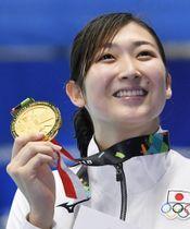 2018年8月、ジャカルタ・アジア大会で6冠を達成した競泳女子の池江璃花子選手=ジャカルタ(共同)