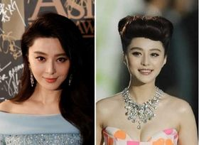 左は中国の女優・范冰冰(ファン・ビンビン)さん(ロイター=共同)、右は「第22回東京国際映画祭」に出席したファン・ビンビンさん(中央)=2009年10月17日、東京・六本木