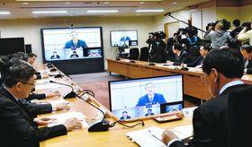 新型コロナウイルスの感染者確認を受けて開かれた県危機管理対策本部会議=県庁