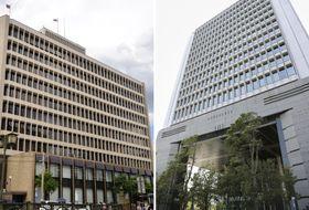 長崎市の十八銀行(左)と福岡市のふくおかフィナンシャルグループの本社