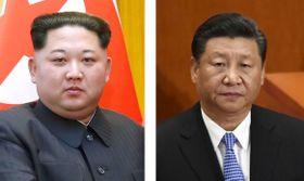 北朝鮮の金正恩朝鮮労働党委員長(新華社=共同)、中国の習近平国家主席