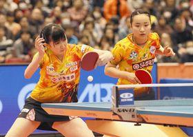 女子ダブルスで優勝した早田(左)、伊藤組=東京体育館で