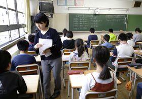 昨年の全国学力テスト=2018年4月、東京都内の小学校