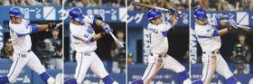 阪神戦でサイクル安打を達成したDeNA・桑原の4打席。(左から)1回の左越え本塁打、2回の左前打、4回の右越え三塁打、8回の左中間二塁打=横浜で