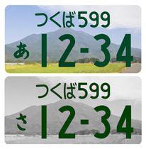 地域の景勝地や名産品の図柄が入る自動車用ナンバープレートのイメージ。上がカラー、下がモノクロ