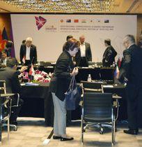 東アジア地域包括的経済連携閣僚会合の会場=13日、シンガポール(共同)