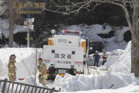 注水作業が続く北海道夕張市の石炭博物館の模擬坑道=20日午前