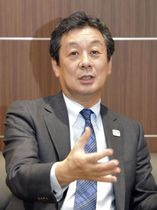 インタビューに応じるJXTGエネルギーの大田勝幸社長