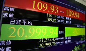 2万1000円を割り込んだ日経平均株価を示すモニター=25日午前、東京・東新橋