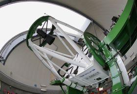 北海道大付属天文台のピリカ望遠鏡=北海道名寄市(魚眼レンズ使用)