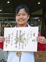 重量挙げ女子64キロ級でトータル168キロをマークし、3位に入った小林の宮越由依(小林高提供)