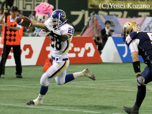 前回のライスボウルで、TDを挙げた関学大RB鷺野=撮影:Yosei Kozano