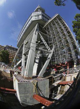 名古屋テレビ塔、免震工事を公開