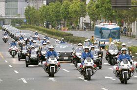 6日に行われた即位祝賀パレードのリハーサル=東京都港区