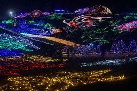色とりどりの光で彩られた国営讃岐まんのう公園の「ウィンターファンタジー」