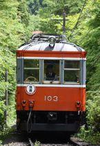箱根の山を力強く登る箱根登山電車の「103」