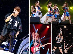 右上から時計回りにAKB48(2015年)、ゴールデンボンバー(2012年)、倖田來未(2015年)、主宰の西川貴教(コンサート写真は©イナズマロックフェス実行委)