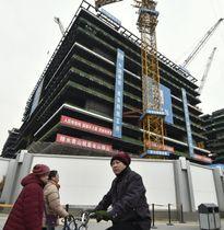 北京で建設が進められるAIIBの本部ビル=15日(共同)