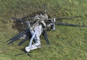 2017年10月、沖縄県東村で炎上し大破した米軍のCH53Eヘリコプター